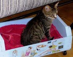 Caixas ou caixotes podem virar bonitas caminhas, muito fofis!