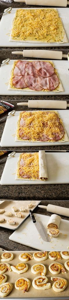 Ham Cheddar and Rosemary Pinwheels Ingredients 1/4 cup Dijon mustard 2 Tablespoons honey 1 Tablespoon finely chopped rosemary 1/2 teaspoon pepper 1 sheet frozen puff pastry 6 thin slices ham 1 1/2 ...