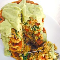 Fluffy Chickpea Pancakes with Vegetables + Avocado Sauce http://www.prevention.com/eatclean/7-high-protein-pancakes-you-need-to-be-eating/slide/4