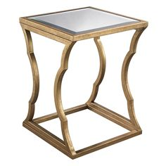 "Metal Cloud Gold Side Table | Beveled mirror top | 18"" square x 24h 