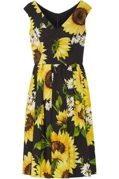 Dolce & Gabbana - Floral-print Cotton-poplin Dress - Yellow