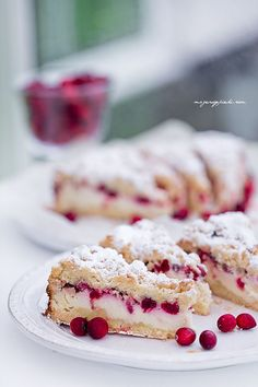Cranberry Cheesecake with Crumb Crust Candy Recipes, Wine Recipes, Dessert Recipes, Polish Desserts, Cranberry Cheesecake, Cupcakes, Pastry Shop, Dessert Drinks, Sweet Tooth