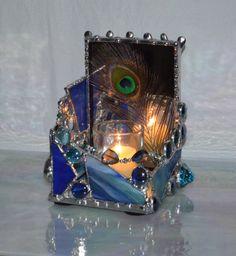 Candle Holder - Cobalt Blue - Peacock Décor - Custom - Stained Glass - Home Décor - Reflection - Romantic - Interior Design - Art Deco