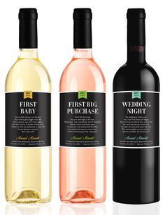 Wedding Milestone Wine Labels - Fun Wedding Gifts - Engagement Gift Celebrating Marriage Firsts - Wine Poems - Set of 6 - Gift Ideas by LabelWithLove on Etsy https://www.etsy.com/listing/237850898/wedding-milestone-wine-labels-fun