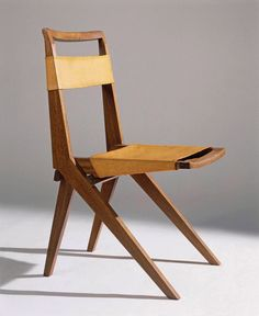 Lina Bo Bardi; Wood and Leather Folding Chair, 1948