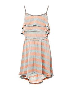 Max  Bean Peach Stripe Casual Party Summer Jersey girls Dress Medium 10 Big Girls >>> Click image to review more details.