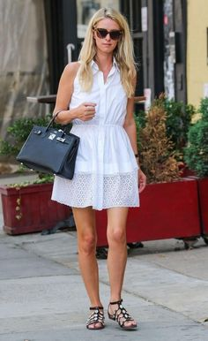 Nicky Hilton wearing Hermes Birkin Bag in Black and Azzedine Alaia Leather Sandals
