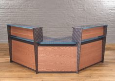 Modern Reception Desks in Cherry wood with Steel I-beams, and a Glass or Stone…