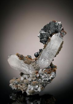 A pleasing V-like configuration of lustrous prismatic Quartz crystals with a part radial bladed crystal 'flower' of metallic grey Semseyite, and further radial Semseyite toward the back of the specimen. A specimen from the Herja Mine, Romania. Minerals And Gemstones, Crystals Minerals, Rocks And Minerals, Stones And Crystals, Gem Stones, Healing Crystals, Crystal Shapes, Crystal Magic, Mineral Stone