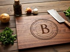 Another good gift idea!    Monogrammed Wood Cutting Board  12x16  personalized by WoodInk. , via Etsy.