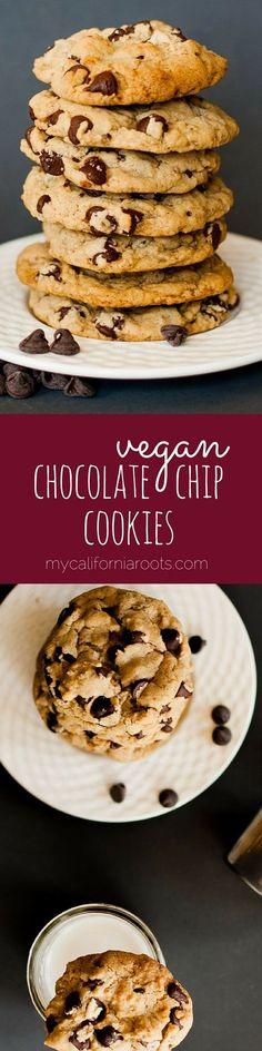 Vegan Chocolate Chip Cookies - These are seriously THE BEST vegan chocolate chip cookies. They remind me of the ones from the tub of Nestle cookie dough. SO GOOD!