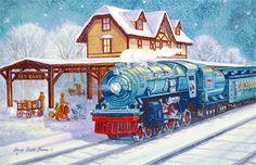 Classic train christmas cards Beautiful Christmas Cards, Vintage Christmas Cards, Retro Christmas, Vintage Cards, Holiday Cards, Cowboy Christmas, Christmas Train, Christmas Past, Christmas Things
