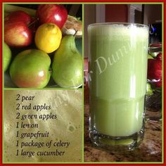 Pear, red and green apples, lemon, grapefruit, celery and cucumber juice!