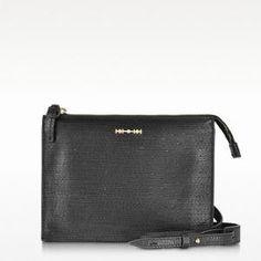 50% off McQ By Alexander McQueen - Crossbody Bag Razor Across Embossed Leather Black - $310