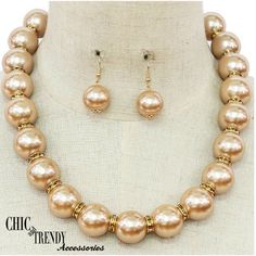 GOLD SIMULATED PEARL & CRYSTAL PROM FORMAL WEDDING CHUNKY NECKLACE JEWELRY SET  #Unbranded