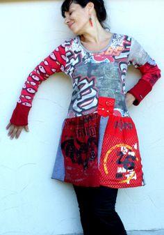 Pop art recycled dress tunic by jamfashion on Etsy, $82.00