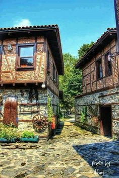 Traditional Turkish houses in Bursa. Turkish Architecture, Beautiful Homes, Beautiful Places, Turkey Travel, Istanbul Turkey, Traditional House, Old Houses, Countryside, Travel Photos