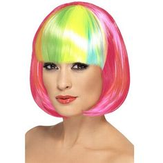 Partyrama Wig, 12 Inch, Neon Pink, Short Bob With Rainbow Fringe Group Fancy Dress, Boomtown Festival, Mermaid Face Paint, Pirate Fancy Dress, Movie Character Costumes, Secret Garden Parties, Steampunk Costume, Super Hero Costumes, Festival Fashion