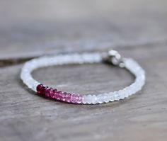 Ombre Pink Tourmaline Bracelet with Moonstone by EleriaJewelry