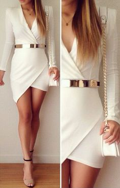 Stay chic and stylish for a busy day at the office, no more hassle, this white bodycon dress is such a lifesaver!