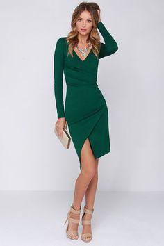 Chic Forest Green Dress - Long Sleeve Dress - Bodycon Dress - Midi Dress - $48.00
