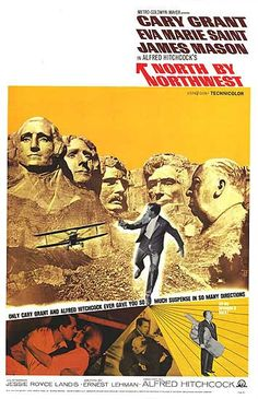 North by Northwest - 1959. Love the shot of Hitchcock bottom right with a giant hand under his arm.