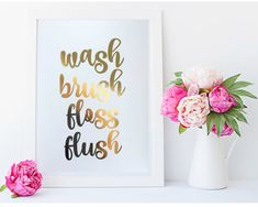 Real Gold Foil Print  wash brush floss flush  8X10 by MoonOrchids
