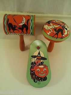 3 Vintage Halloween Noise Makers Rattles Ratchets Tin Litho Paint T Conn U s A   eBay