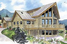 This modern log home blends rustic appeal with all the amenities you'd expect to find in a contemporary home plan. An array of windows sparkle across the view side's central section. Its tradi