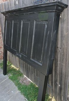 (12) Hometalk :: Onyx Black and Chelsea Gray Distressed 100 Yr Old Door Headboard