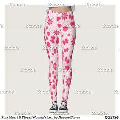37a8e544570dd Pink Heart & Floral Women's Leggings Sweatpants, Pajama Pants, Pajamas,  Leggings, Valentines