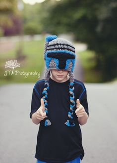 Jango Fett crochet hat inspired by The Star Wars Movies, Comics & cartoons! Perfect for the Star Wars Junkie in your Life! Makes the Best