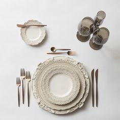 Antique White Verona Charger + White Lace Dinnerware + Moon Flatware in Rose Gold + Bella Gold Rimmed Stemware in Smoke | Casa de Perrin Design Presentation