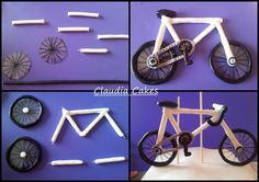 Bicycle tutorial fab hope I get to use this soon Más Fondant Toppers, Fondant Cakes, Cupcake Cakes, Fondant Bow, Fondant Flowers, Bicycle Cake, Bike Cakes, Car Cakes, Cake Models