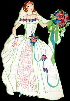 Sublime Redhead BRIDE Bridge Tally. 1920s Bride Flapper VINTAGE Illustration. Art Deco Wedding  DIGITAL Download. Perfect For Invites