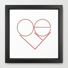 MODERN LOVE Framed Art Print by RichCaspian - $33.00 #love #heart #modern #art #frame #framed #shape #pattern #design #LOVE #sweet #simple #minimal #minimalism #cute #red #white
