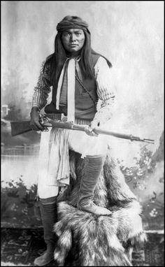 Portrait of (Eshkintsaygiza) Mike, a White Mountain Apache; Alchisay's Band. Photographed c. 1890.