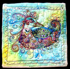 createcreatively:    Bird- Batik with hand embroidery and beading by Jayne Townsend