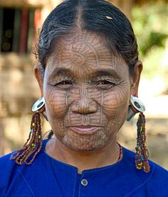 *Chin woman from Burma. In a 200 year-old custom, the Chin ethnic minority group in Myanmar give their daughters elaborate facial tattoos. It is believed that this was done to ward off attacks from neighbouring princes who would often try to kidnap girls to be concubines.