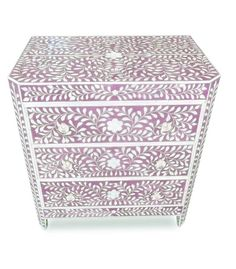 Indian Artisan Pink Mother of Pearl Bone Inlay Mosaic Chest of Drawers Historically Created For Palaces of India   Inspiring Interior Design Ideas From InStyle-Decor.com Beverly Hills Enjoy & Happy Pinning
