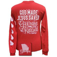 Georgia Raised, Jesus Saved Chevron State Girlie Bright Long Sleeves T | SimplyCuteTees