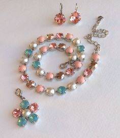 "Swarovski Crystal Necklace - Sabika Inspired - ""Caribbean Dream "" - Soft Corals, Pacific Opal, Swarovski Pearls"