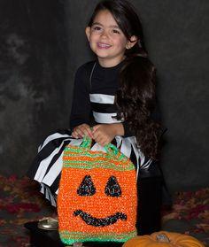 Pumpkin Face Bag Free Crochet Pattern from Red Heart Yarns