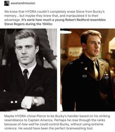Robert Redford (Senator Pierce) in 1964 vs Steve Rogers in 1940s