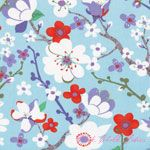 Kate Spain Good Fortune Sakura Tranquility Aqua.  I love Sakura flowers. Who would have thought anime would coincide with fabric? ;-)