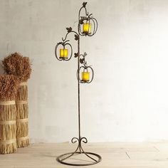 A cluster of gourds always makes a lavish display. Now you can forgo the garden variety and opt to use our lantern tree, which will last for years to come. Crafted of iron, in a rope-like design, the tree and trio of pumpkins have a  black painted finish. Simply insert lit candles into the glass sleeves and use it to illuminate a darkened doorway or nook. It's like a moveable feast—for your eyes.