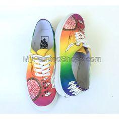 Rainbow Dreamcatcher Custom Vans Shoes Hand Painted Vans Dream C Painted Canvas Shoes, Painted Vans, Hand Painted Shoes, Painted Clothes, Dream Catcher Painting, Custom Vans Shoes, Painting Shoes, White Shoes, On Shoes