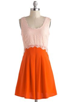 Gameday Fashion for Her - Laced & Pleated Dress Unique Dresses, Pretty Dresses, Date Dresses, Summer Dresses, Retro Vintage Dresses, Mod Dress, Lace Dress, Orange Dress, Fashion Dresses