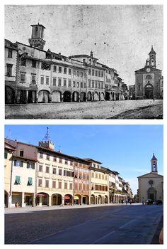 Figline - Piazza Marsilio Ficino e la Porta Aretina