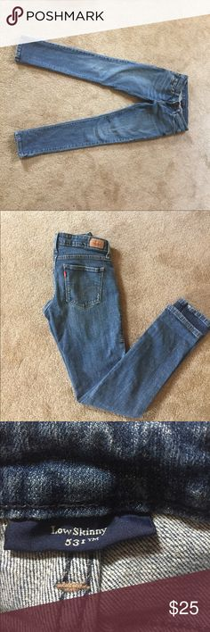 Levi's lightly distressed low skinny jean Levi's lightly distressed low skinny jeans! So comfortable, great condition, only worn a handful of times. Levi's Jeans Skinny